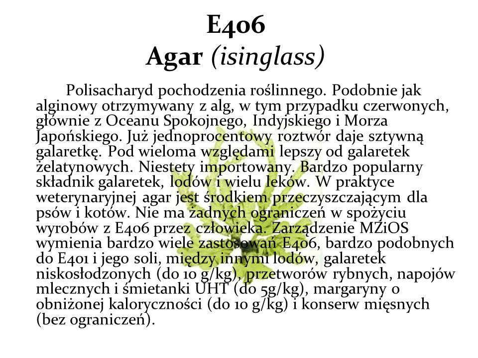 E406 Agar (isinglass) Polisacharyd pochodzenia roślinnego.