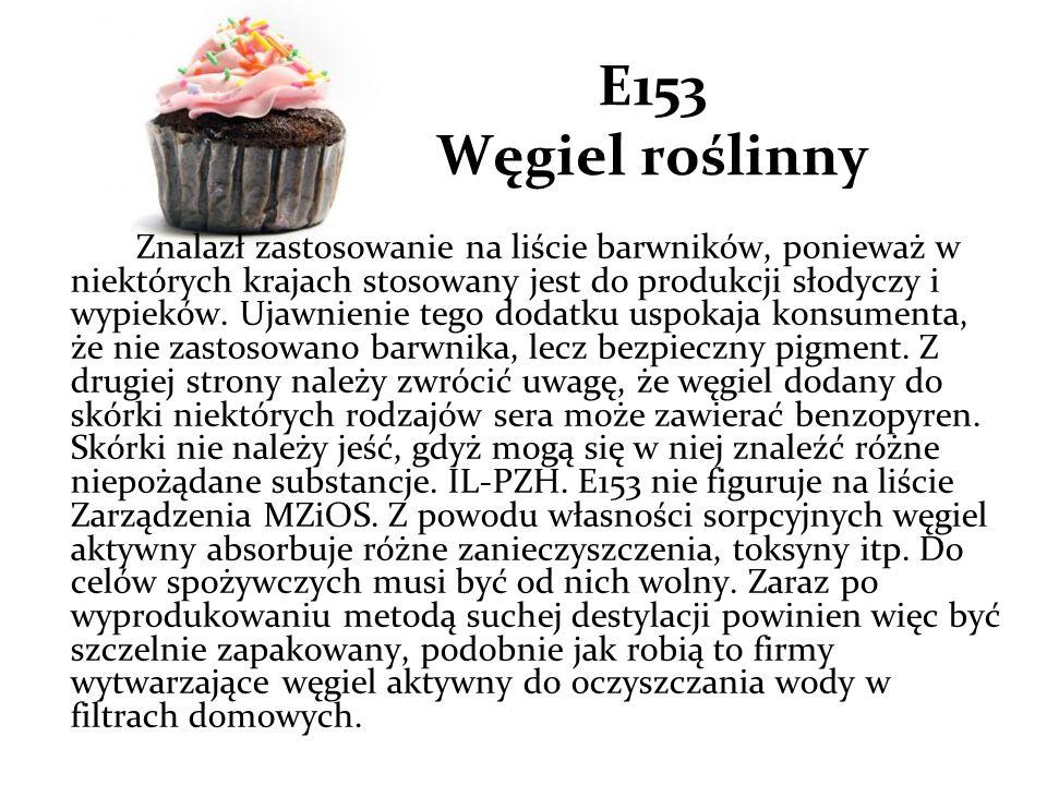 E153 Węgiel roślinny Znalazł zastosowanie na liście barwników, ponieważ w niektórych krajach stosowany jest do produkcji słodyczy i wypieków.