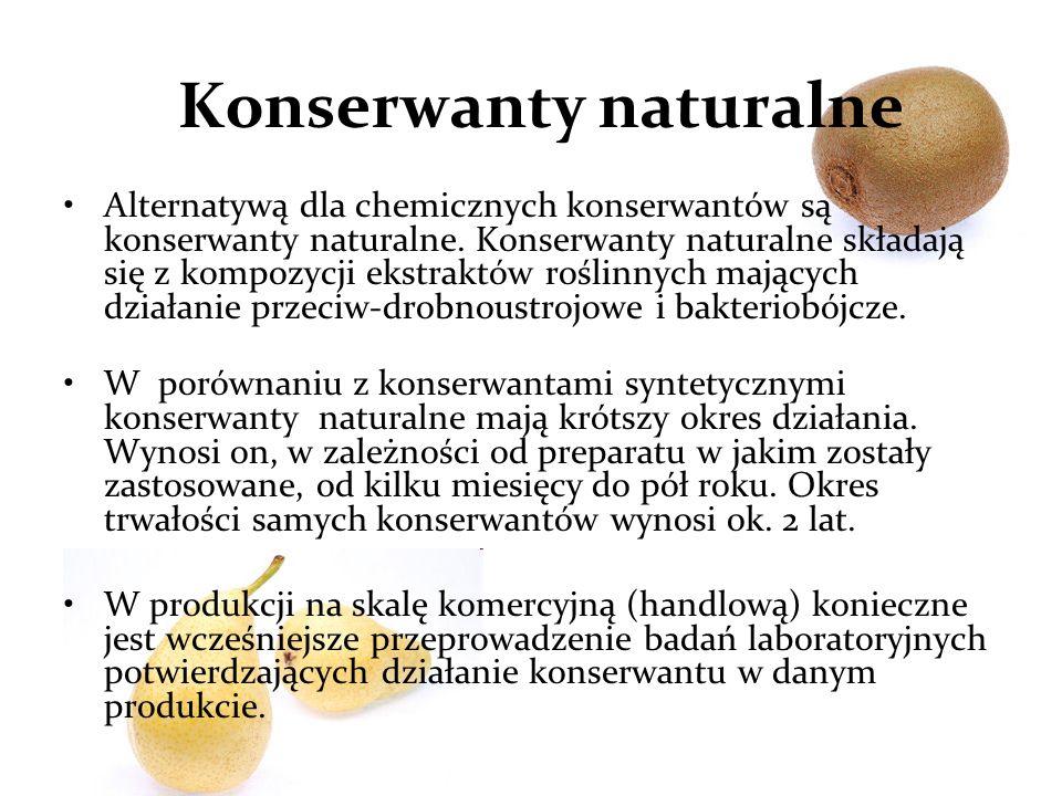 Konserwanty naturalne Alternatywą dla chemicznych konserwantów są konserwanty naturalne.