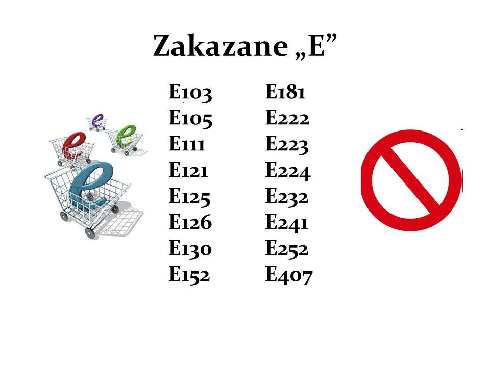 "E103 E105 E111 E121 E125 E126 E130 E152 E181 E222 E223 E224 E232 E241 E252 E407 Zakazane ""E"