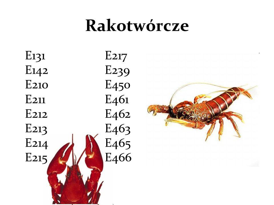 Rakotwórcze E131 E142 E210 E211 E212 E213 E214 E215 E217 E239 E450 E461 E462 E463 E465 E466