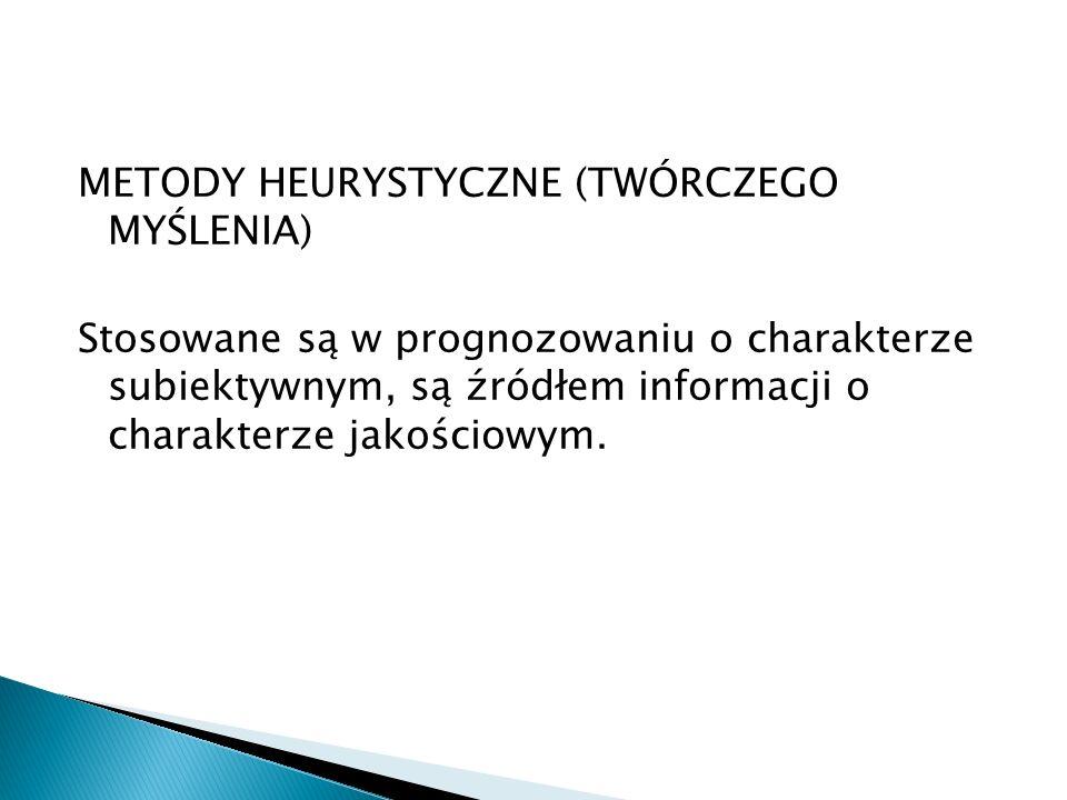 METODY HEURYSTYCZNE (TWÓRCZEGO MYŚLENIA) Stosowane są w prognozowaniu o charakterze subiektywnym, są źródłem informacji o charakterze jakościowym.