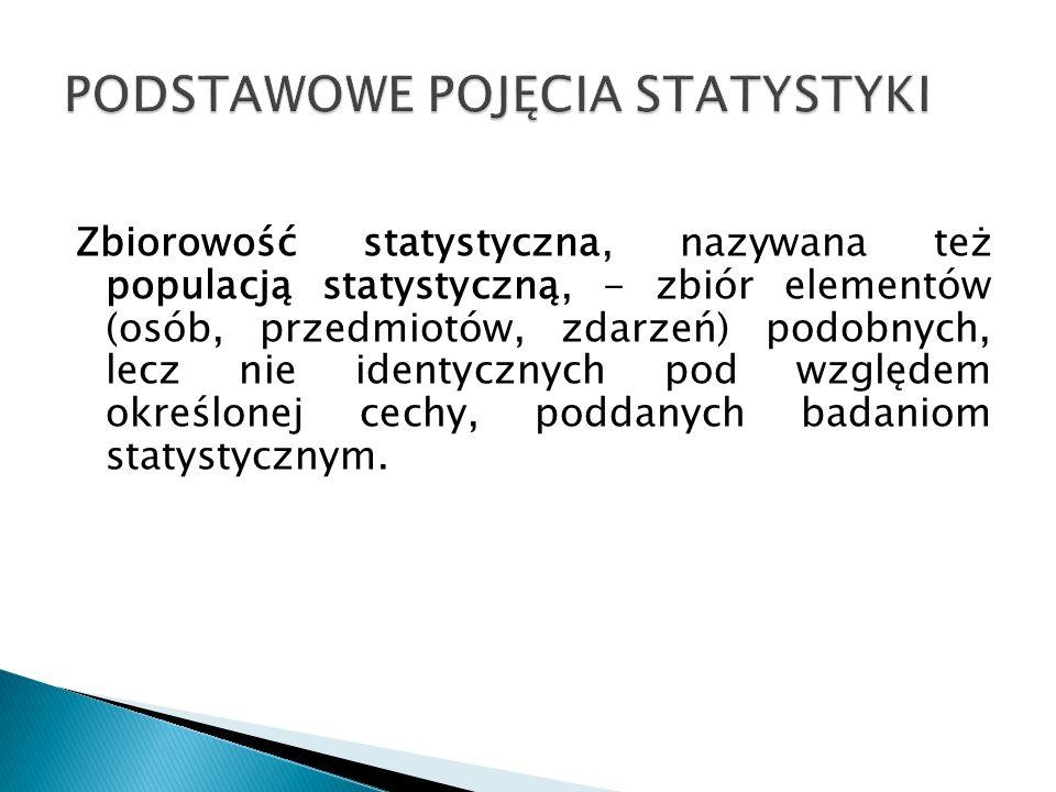 Zbiorowość statystyczna, nazywana też populacją statystyczną, - zbiór elementów (osób, przedmiotów, zdarzeń) podobnych, lecz nie identycznych pod wzgl