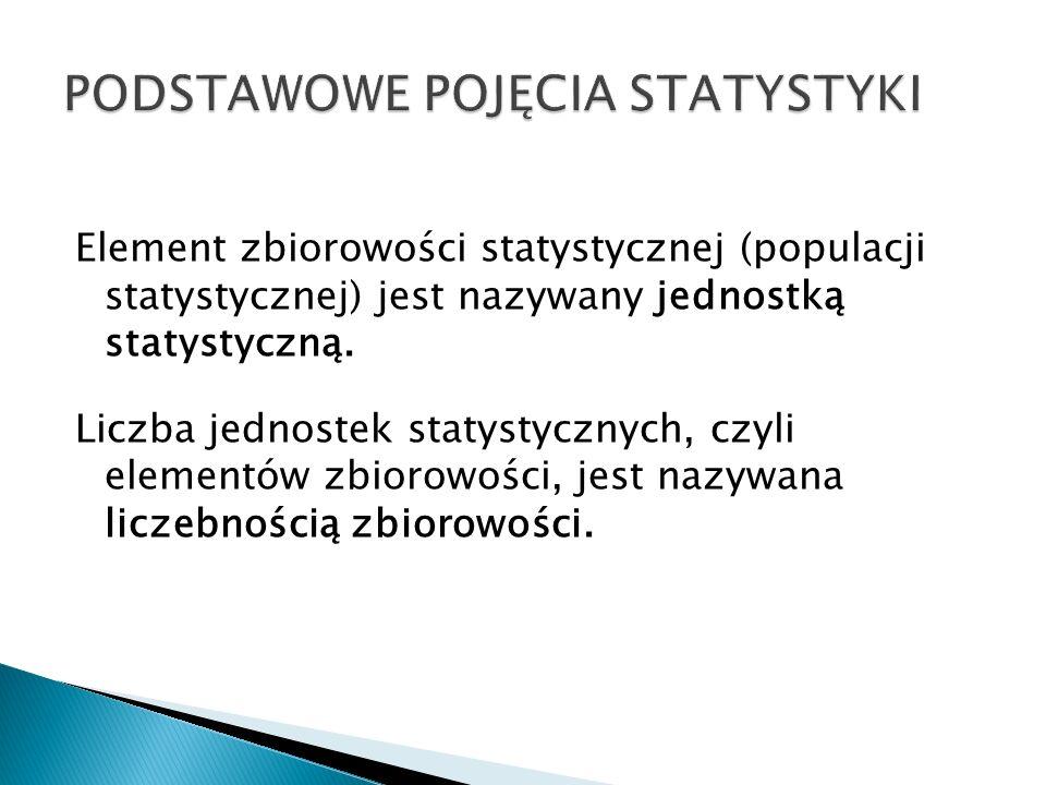 Element zbiorowości statystycznej (populacji statystycznej) jest nazywany jednostką statystyczną. Liczba jednostek statystycznych, czyli elementów zbi