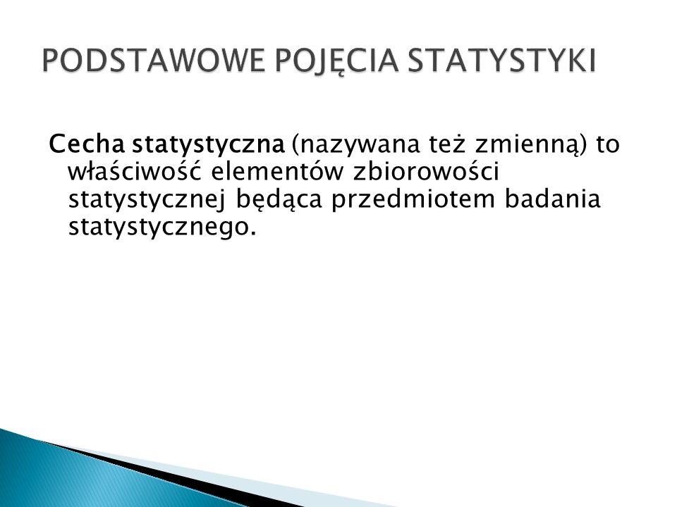 Cecha statystyczna (nazywana też zmienną) to właściwość elementów zbiorowości statystycznej będąca przedmiotem badania statystycznego.