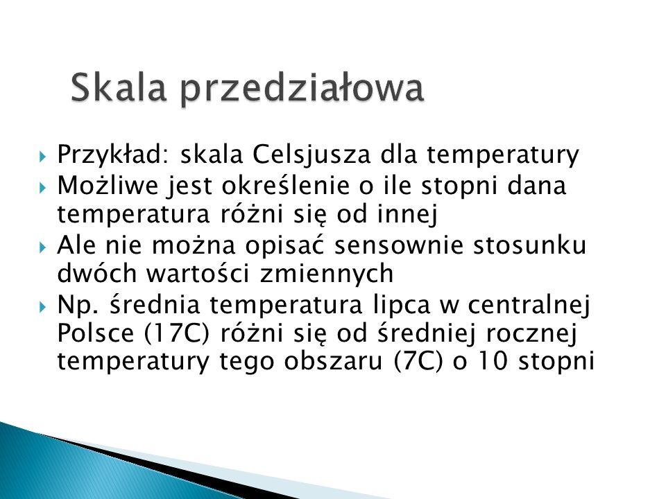  Przykład: skala Celsjusza dla temperatury  Możliwe jest określenie o ile stopni dana temperatura różni się od innej  Ale nie można opisać sensownie stosunku dwóch wartości zmiennych  Np.