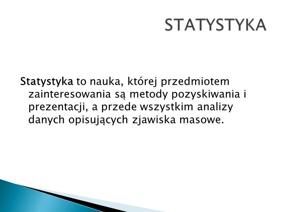 Statystyka to nauka, której przedmiotem zainteresowania są metody pozyskiwania i prezentacji, a przede wszystkim analizy danych opisujących zjawiska m