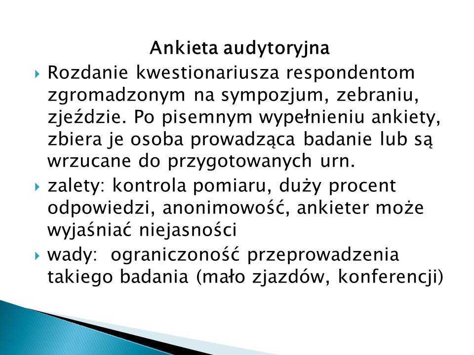 Ankieta audytoryjna  Rozdanie kwestionariusza respondentom zgromadzonym na sympozjum, zebraniu, zjeździe.