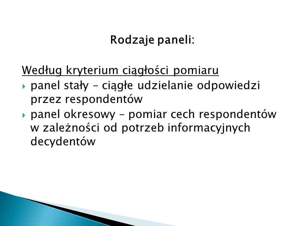 Rodzaje paneli: Według kryterium ciągłości pomiaru  panel stały – ciągłe udzielanie odpowiedzi przez respondentów  panel okresowy – pomiar cech respondentów w zależności od potrzeb informacyjnych decydentów