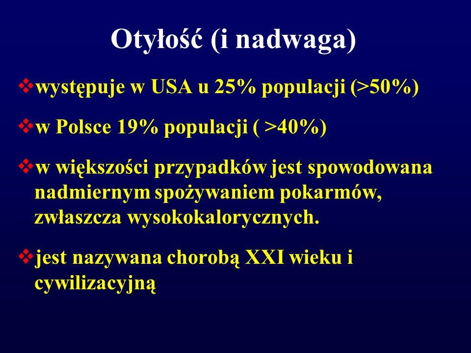 Otyłość (i nadwaga)  występuje w USA u 25% populacji (>50%)  w Polsce 19% populacji ( >40%)  w większości przypadków jest spowodowana nadmiernym sp