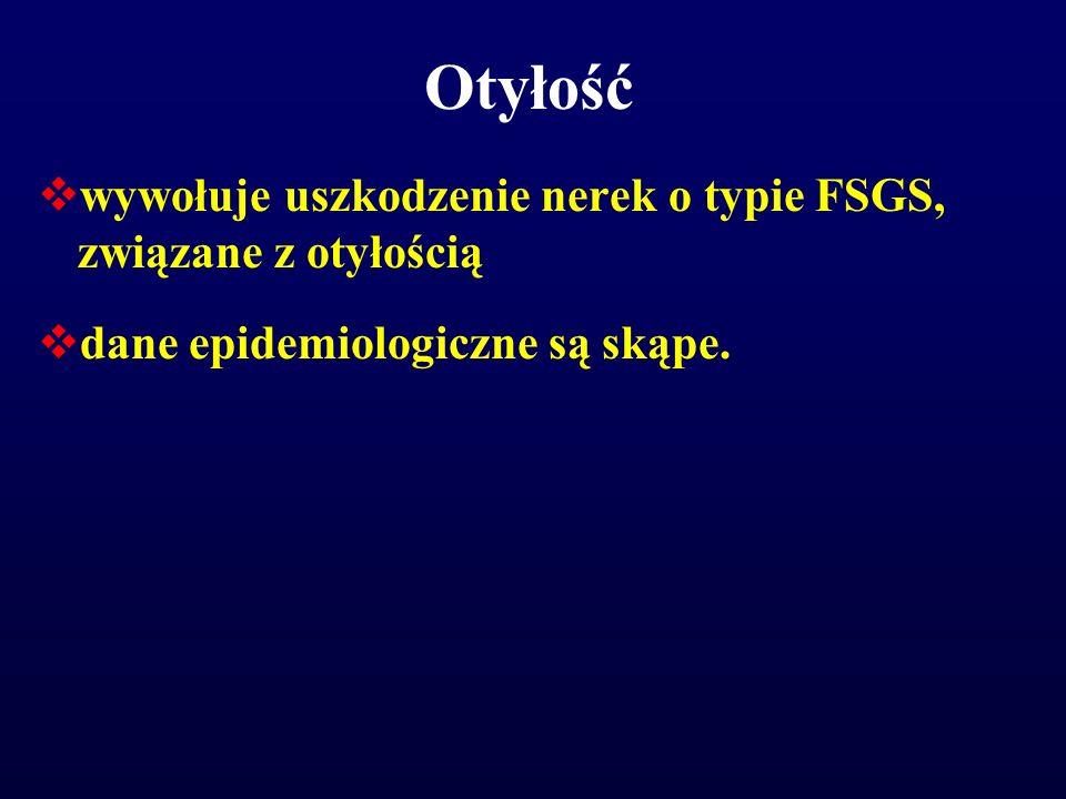 Otyłość  wywołuje uszkodzenie nerek o typie FSGS, związane z otyłością  dane epidemiologiczne są skąpe.