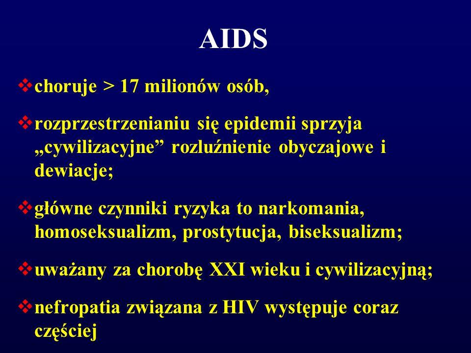 """AIDS  choruje > 17 milionów osób,  rozprzestrzenianiu się epidemii sprzyja """"cywilizacyjne"""" rozluźnienie obyczajowe i dewiacje;  główne czynniki ryz"""