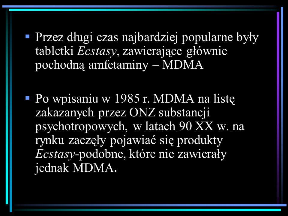  Przez długi czas najbardziej popularne były tabletki Ecstasy, zawierające głównie pochodną amfetaminy – MDMA  Po wpisaniu w 1985 r.