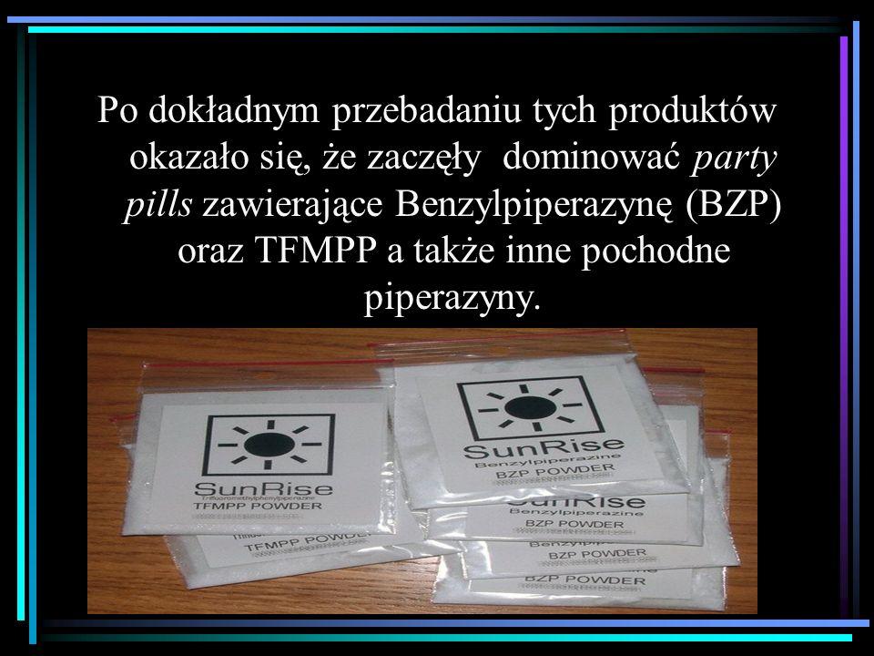 Po dokładnym przebadaniu tych produktów okazało się, że zaczęły dominować party pills zawierające Benzylpiperazynę (BZP) oraz TFMPP a także inne pochodne piperazyny.