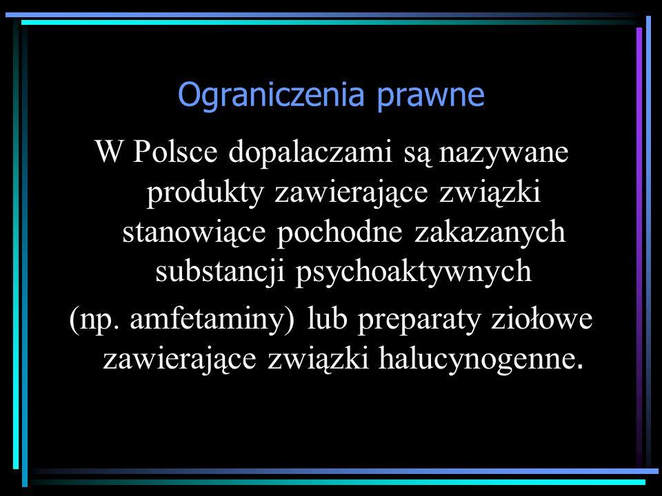 Ograniczenia prawne W Polsce dopalaczami są nazywane produkty zawierające związki stanowiące pochodne zakazanych substancji psychoaktywnych (np.