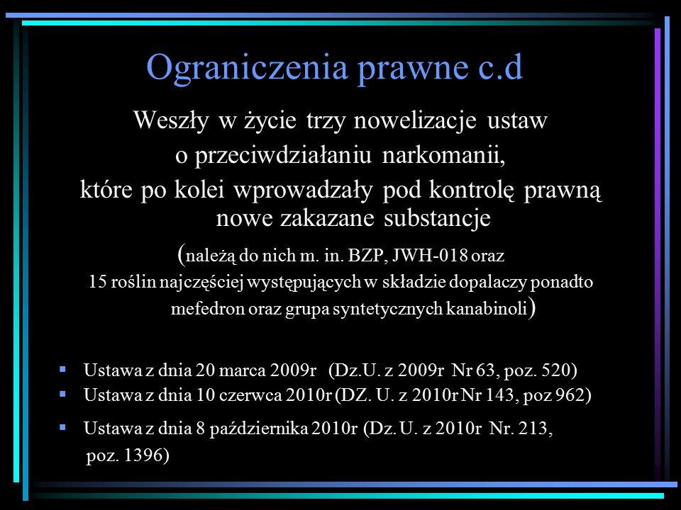 Ograniczenia prawne c.d Weszły w życie trzy nowelizacje ustaw o przeciwdziałaniu narkomanii, które po kolei wprowadzały pod kontrolę prawną nowe zakazane substancje ( należą do nich m.