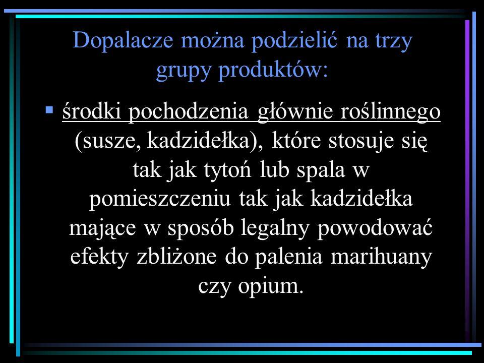 Dopalacze można podzielić na trzy grupy produktów:  środki pochodzenia głównie roślinnego (susze, kadzidełka), które stosuje się tak jak tytoń lub spala w pomieszczeniu tak jak kadzidełka mające w sposób legalny powodować efekty zbliżone do palenia marihuany czy opium.