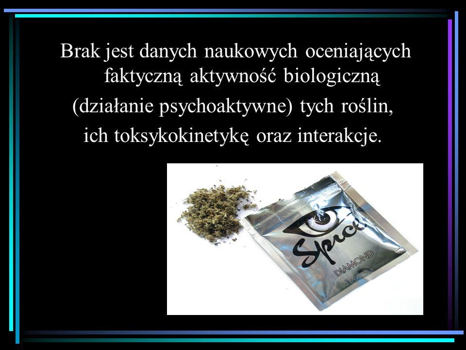  W trakcie badań okazało się, że składniki naturalne nie są jedynym źródłem psychoaktywnego działania tego rodzaju dopalaczy  Prowadzone w Polsce i innych krajach Europy badania toksykologiczne wykazały w nich obecność syntetycznych agonistów receptorów kannabinoidowych  Jak dotąd zsyntezowano ponad 400 takich związków (dla celów naukowych)