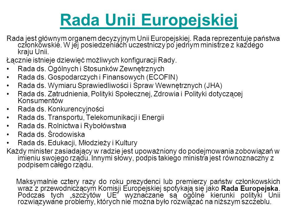 Rada Unii Europejskiej Rada jest głównym organem decyzyjnym Unii Europejskiej.