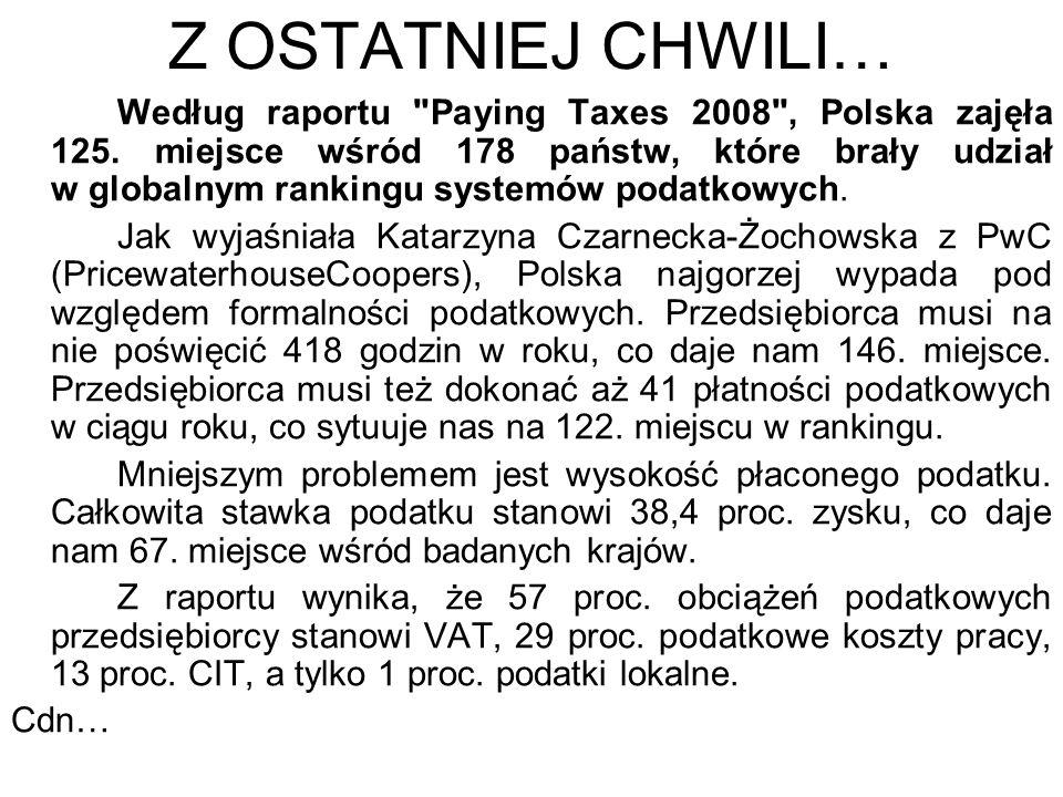 Z OSTATNIEJ CHWILI… Według raportu Paying Taxes 2008 , Polska zajęła 125.