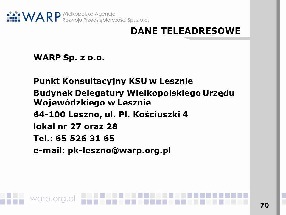 70 WARP Sp. z o.o. Punkt Konsultacyjny KSU w Lesznie Budynek Delegatury Wielkopolskiego Urzędu Wojewódzkiego w Lesznie 64-100 Leszno, ul. Pl. Kościusz