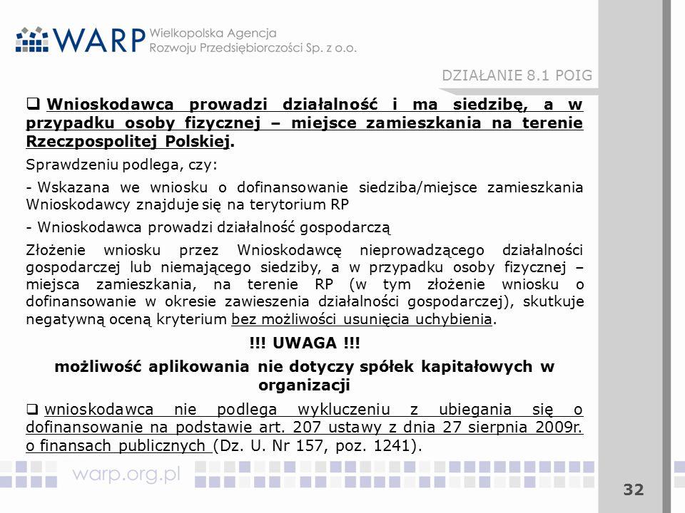 32  Wnioskodawca prowadzi działalność i ma siedzibę, a w przypadku osoby fizycznej – miejsce zamieszkania na terenie Rzeczpospolitej Polskiej.