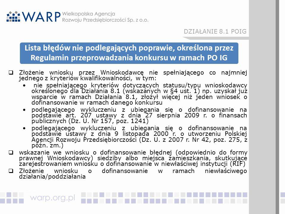 Lista błędów nie podlegających poprawie, określona przez Regulamin przeprowadzania konkursu w ramach PO IG  Złożenie wniosku przez Wnioskodawcę nie s