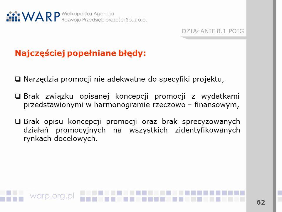 62 DZIAŁANIE 8.1 POIG Najczęściej popełniane błędy:  Narzędzia promocji nie adekwatne do specyfiki projektu,  Brak związku opisanej koncepcji promoc