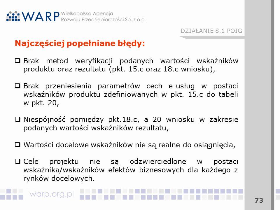 73 DZIAŁANIE 8.1 POIG Najczęściej popełniane błędy:  Brak metod weryfikacji podanych wartości wskaźników produktu oraz rezultatu (pkt. 15.c oraz 18.c