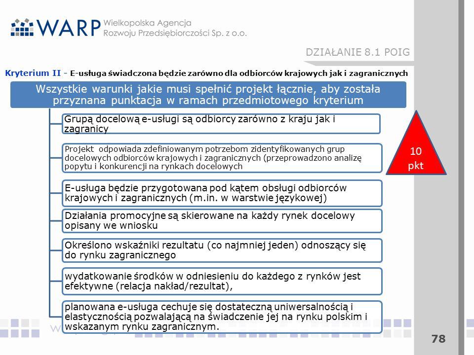 78 DZIAŁANIE 8.1 POIG 10 pkt Wszystkie warunki jakie musi spełnić projekt łącznie, aby została przyznana punktacja w ramach przedmiotowego kryterium Grupą docelową e-usługi są odbiorcy zarówno z kraju jak i zagranicy Projekt odpowiada zdefiniowanym potrzebom zidentyfikowanych grup docelowych odbiorców krajowych i zagranicznych (przeprowadzono analizę popytu i konkurencji na rynkach docelowych E-usługa będzie przygotowana pod kątem obsługi odbiorców krajowych i zagranicznych (m.in.