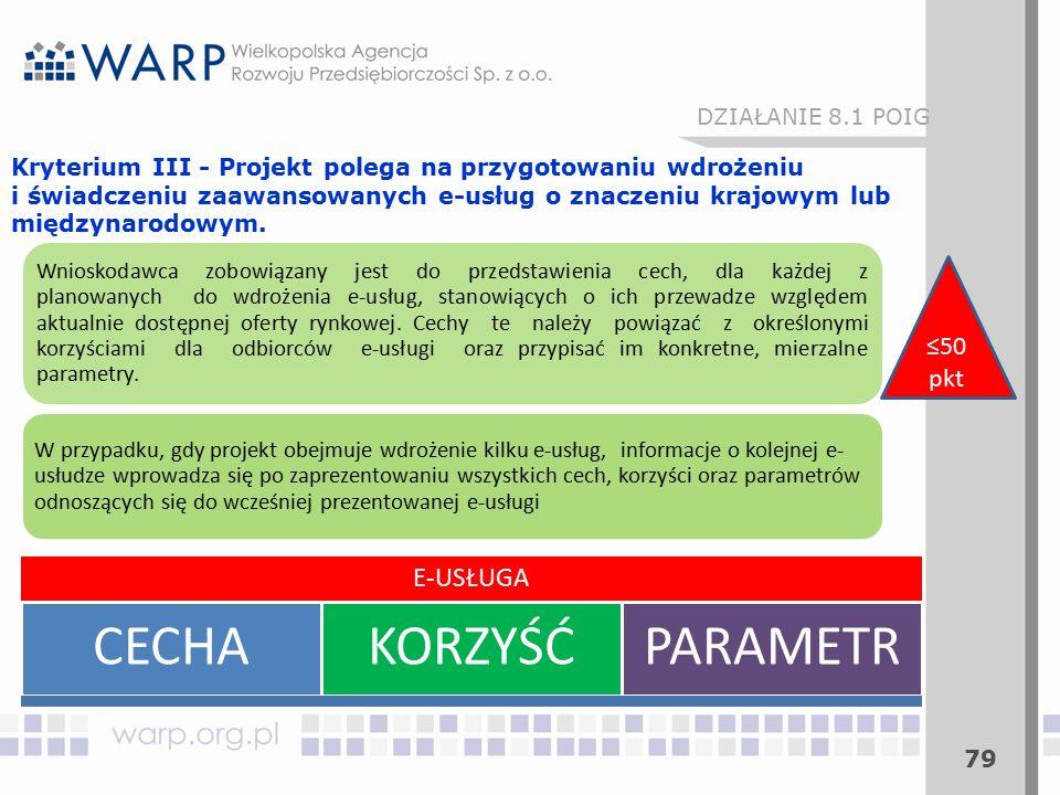 79 Kryterium III - Projekt polega na przygotowaniu wdrożeniu i świadczeniu zaawansowanych e-usług o znaczeniu krajowym lub międzynarodowym. E-USŁUGA C
