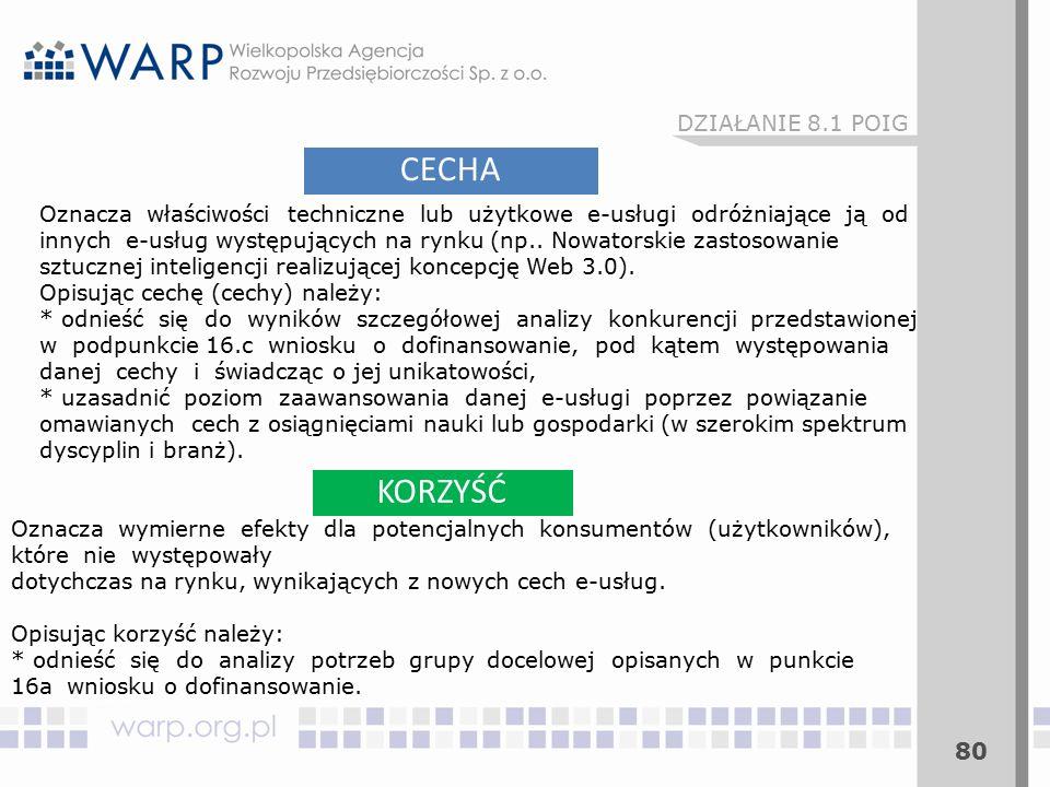 80 CECHA KORZYŚĆ Oznacza właściwości techniczne lub użytkowe e-usługi odróżniające ją od innych e-usług występujących na rynku (np..