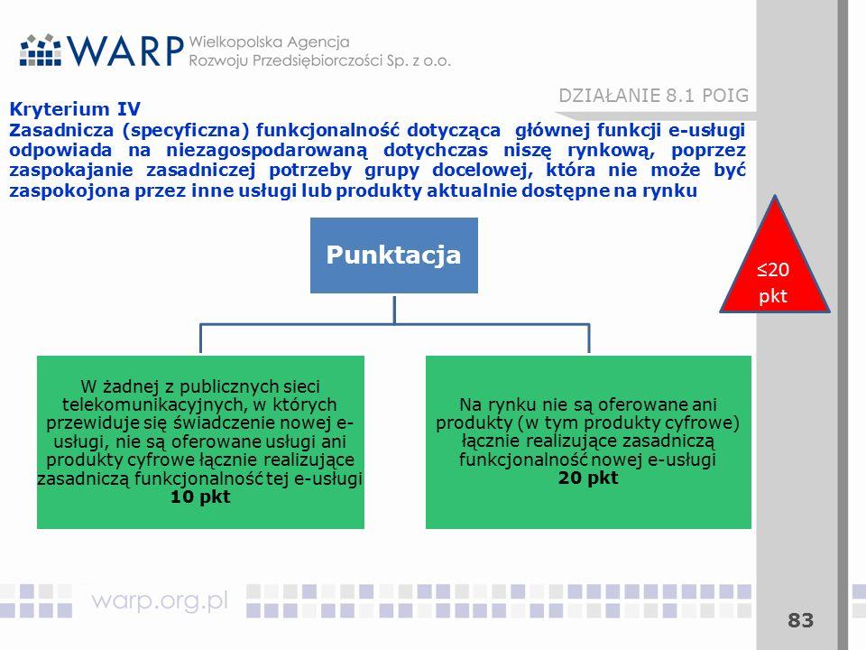 83 Kryterium IV Zasadnicza (specyficzna) funkcjonalność dotycząca głównej funkcji e-usługi odpowiada na niezagospodarowaną dotychczas niszę rynkową, poprzez zaspokajanie zasadniczej potrzeby grupy docelowej, która nie może być zaspokojona przez inne usługi lub produkty aktualnie dostępne na rynku DZIAŁANIE 8.1 POIG ≤20 pkt Punktacja W żadnej z publicznych sieci telekomunikacyjnych, w których przewiduje się świadczenie nowej e- usługi, nie są oferowane usługi ani produkty cyfrowe łącznie realizujące zasadniczą funkcjonalność tej e-usługi 10 pkt Na rynku nie są oferowane ani produkty (w tym produkty cyfrowe) łącznie realizujące zasadniczą funkcjonalność nowej e-usługi 20 pkt