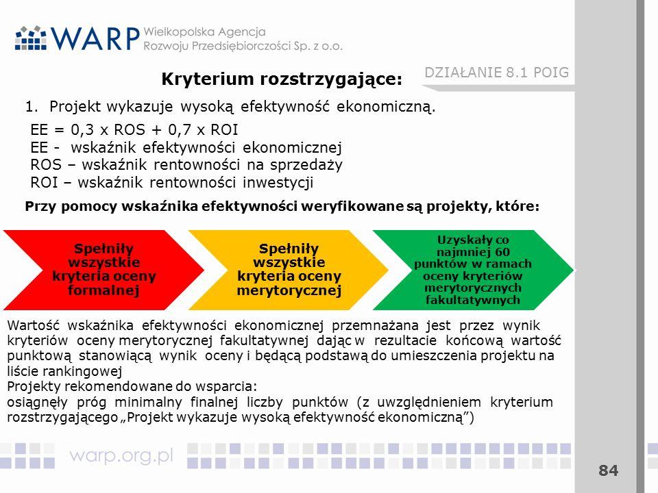 84 DZIAŁANIE 8.1 POIG Kryterium rozstrzygające: 1.Projekt wykazuje wysoką efektywność ekonomiczną.
