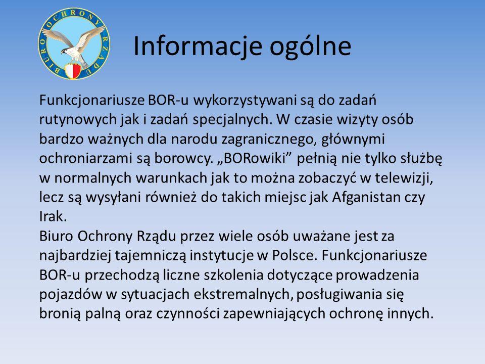 Informacje ogólne Funkcjonariusze BOR-u wykorzystywani są do zadań rutynowych jak i zadań specjalnych.