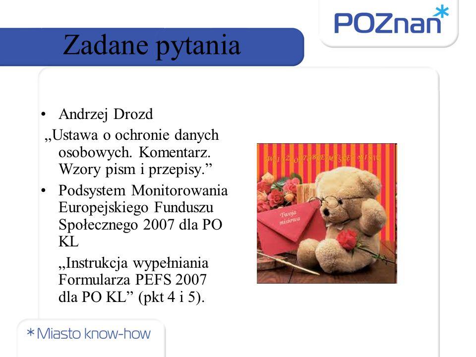 """Zadane pytania Andrzej Drozd """"Ustawa o ochronie danych osobowych."""