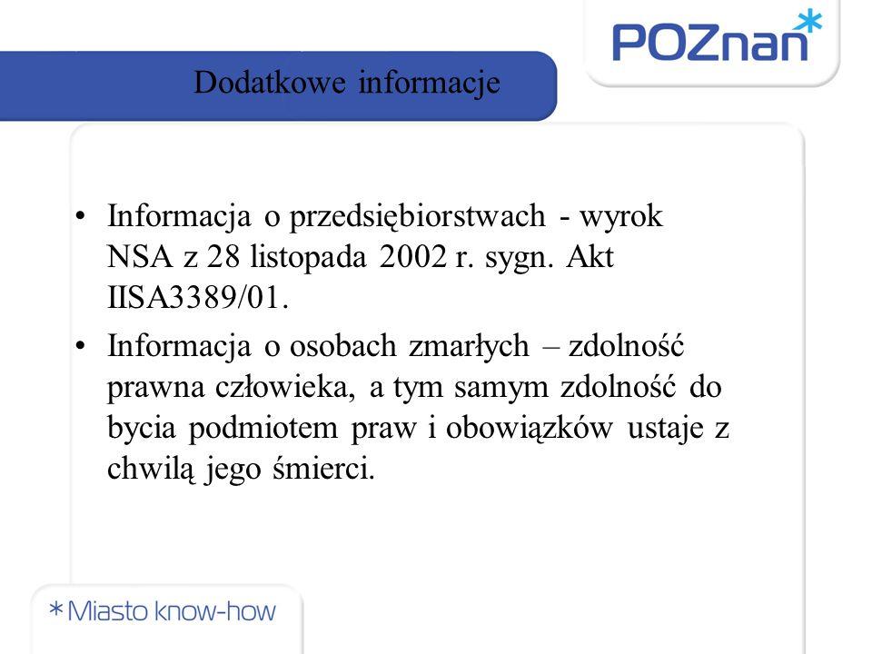 Dodatkowe informacje Informacja o przedsiębiorstwach - wyrok NSA z 28 listopada 2002 r.