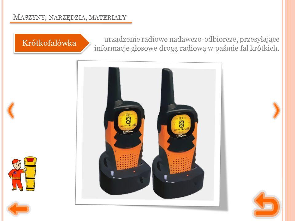 M ASZYNY, NARZĘDZIA, MATERIAŁY urządzenie radiowe nadawczo-odbiorcze, przesyłające informacje głosowe drogą radiową w paśmie fal krótkich.