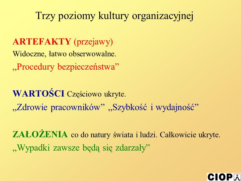 Trzy poziomy kultury organizacyjnej ARTEFAKTY (przejawy) Widoczne, łatwo obserwowalne.