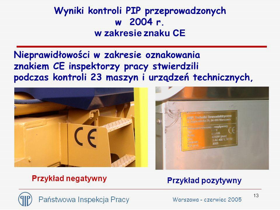 13 Wyniki kontroli PIP przeprowadzonych w 2004 r. w zakresie znaku CE Nieprawidłowości w zakresie oznakowania znakiem CE inspektorzy pracy stwierdzili