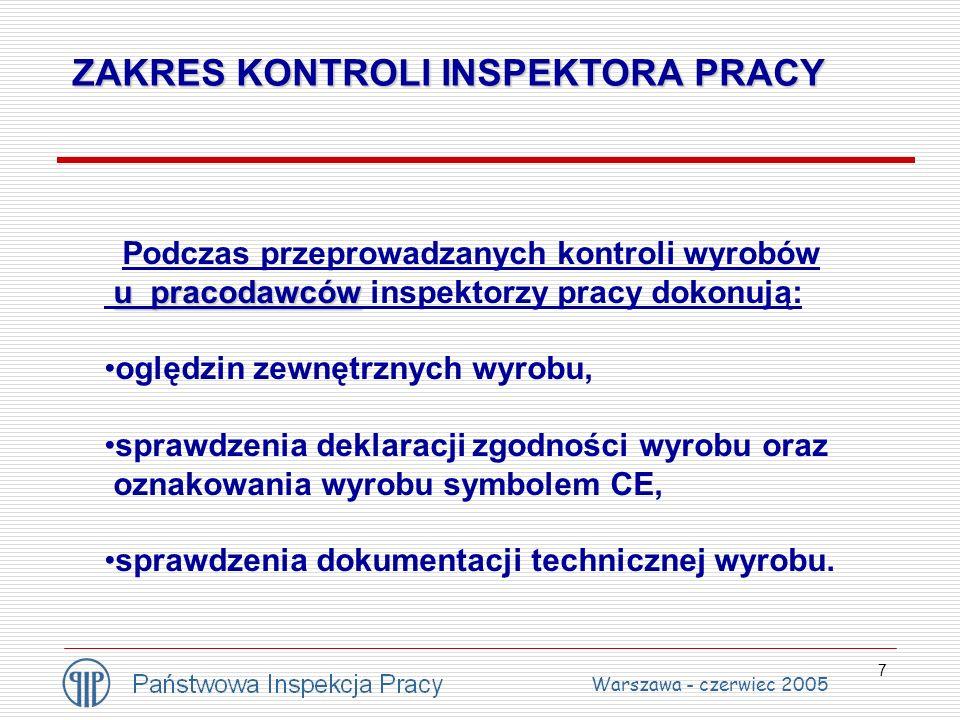 7 ZAKRES KONTROLI INSPEKTORA PRACY Podczas przeprowadzanych kontroli wyrobów u pracodawców u pracodawców inspektorzy pracy dokonują: oględzin zewnętrz