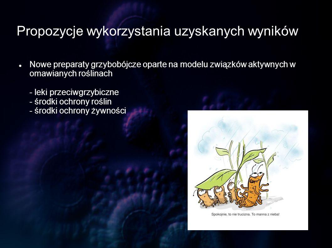 Propozycje wykorzystania uzyskanych wyników Nowe preparaty grzybobójcze oparte na modelu związków aktywnych w omawianych roślinach - leki przeciwgrzyb