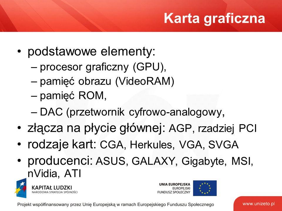 Karta graficzna podstawowe elementy: –procesor graficzny (GPU), –pamięć obrazu (VideoRAM) –pamięć ROM, –DAC (przetwornik cyfrowo-analogowy, złącza na płycie głównej: AGP, rzadziej PCI rodzaje kart: CGA, Herkules, VGA, SVGA producenci: ASUS, GALAXY, Gigabyte, MSI, nVidia, ATI