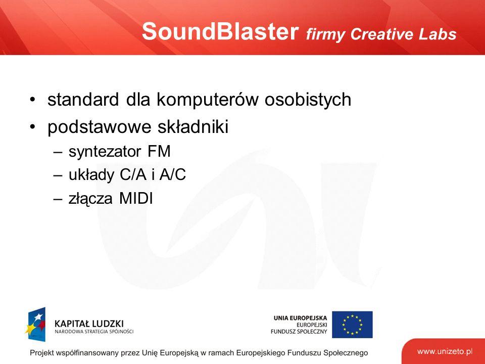 SoundBlaster firmy Creative Labs standard dla komputerów osobistych podstawowe składniki –syntezator FM –układy C/A i A/C –złącza MIDI