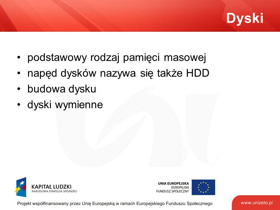 Dyski podstawowy rodzaj pamięci masowej napęd dysków nazywa się także HDD budowa dysku dyski wymienne