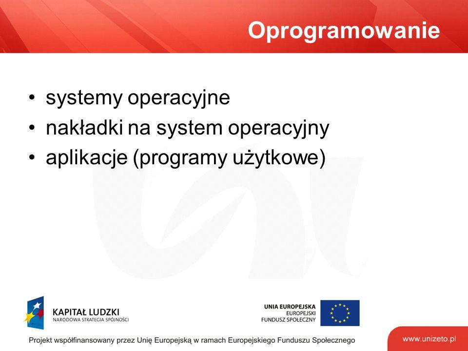 Oprogramowanie systemy operacyjne nakładki na system operacyjny aplikacje (programy użytkowe)
