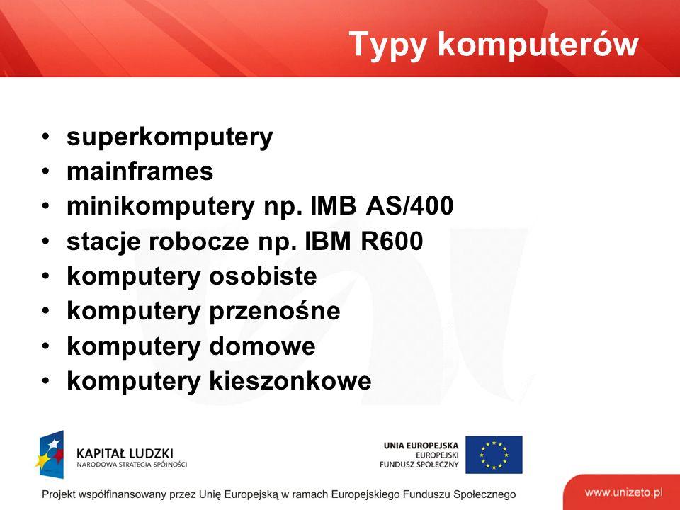Typy komputerów superkomputery mainframes minikomputery np.