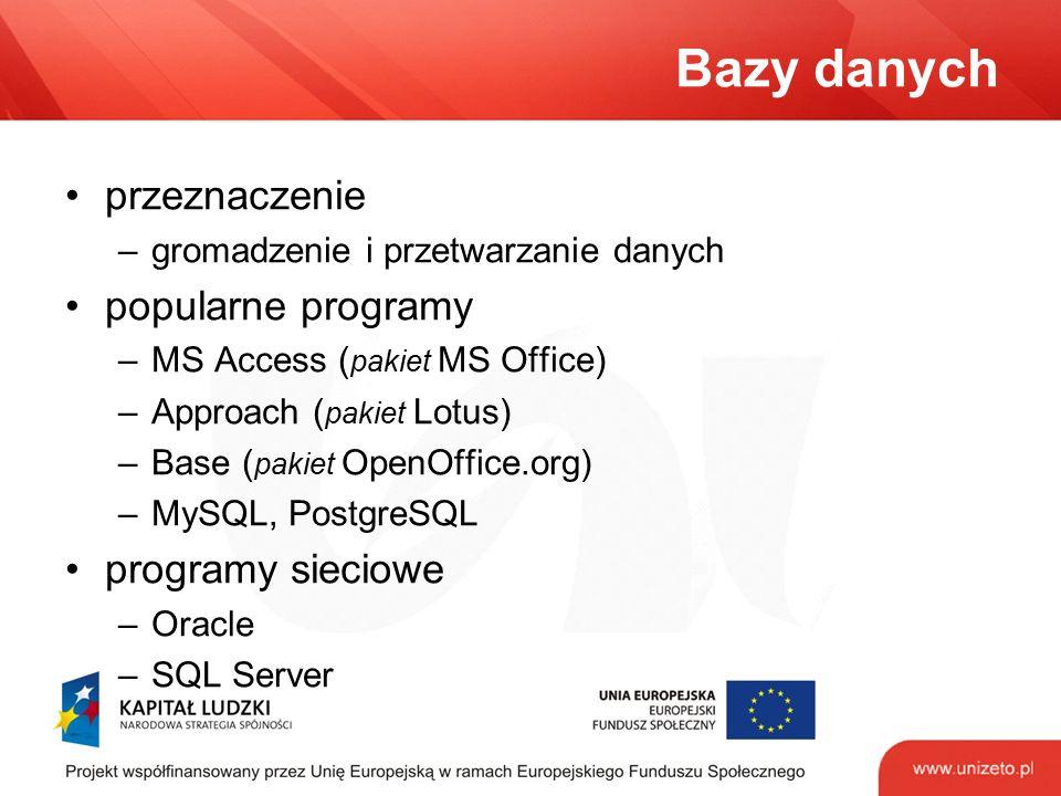 Bazy danych przeznaczenie –gromadzenie i przetwarzanie danych popularne programy –MS Access ( pakiet MS Office) –Approach ( pakiet Lotus) –Base ( paki