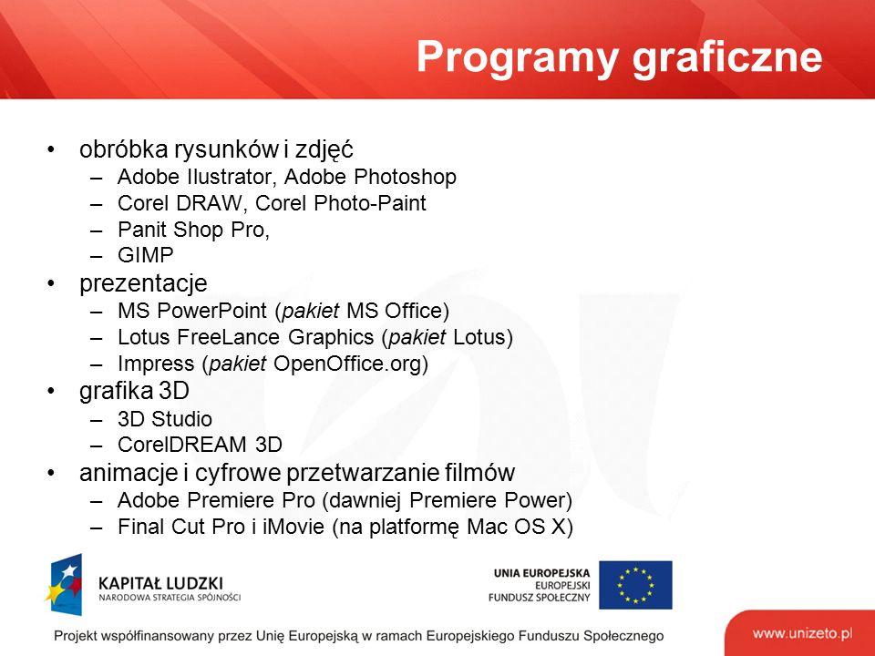 Programy graficzne obróbka rysunków i zdjęć –Adobe Ilustrator, Adobe Photoshop –Corel DRAW, Corel Photo-Paint –Panit Shop Pro, –GIMP prezentacje –MS PowerPoint (pakiet MS Office) –Lotus FreeLance Graphics (pakiet Lotus) –Impress (pakiet OpenOffice.org) grafika 3D –3D Studio –CorelDREAM 3D animacje i cyfrowe przetwarzanie filmów –Adobe Premiere Pro (dawniej Premiere Power) –Final Cut Pro i iMovie (na platformę Mac OS X)