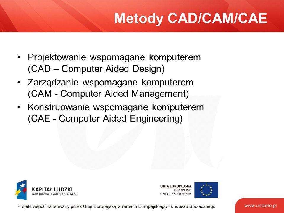 Metody CAD/CAM/CAE Projektowanie wspomagane komputerem (CAD – Computer Aided Design) Zarządzanie wspomagane komputerem (CAM - Computer Aided Management) Konstruowanie wspomagane komputerem (CAE - Computer Aided Engineering)